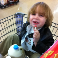 Noah in a Grocery Cart